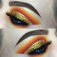 Bold gold cut crease Eyeshadow look blended out with gorgeous burnt orange shade