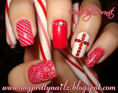 Christmas nail stamping | Christmas Nail Art Stamping with Rhinestone Cross and Video Tutorial