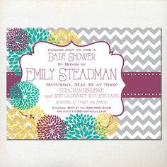 Baby Girl Shower Invitation  Dark Purple Yellow by BurlapAndBeauty, $13.00