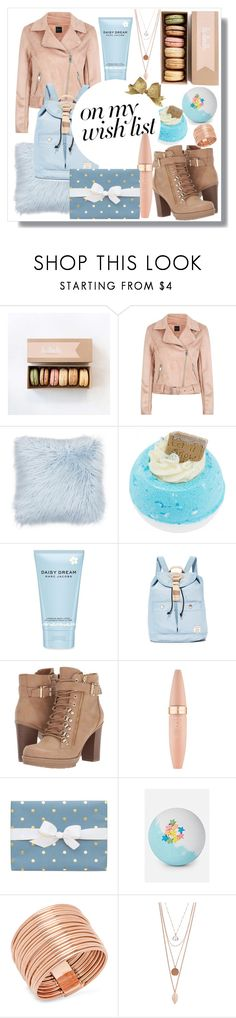 """#PolyPresents: Wish List"" by artistic-biscuit ❤ liked on Polyvore featuring Marc Jacobs, Doughnut, G by Guess, Maybelline and Sugar Paper"
