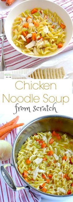 You may never buy the canned stuff again after I show you how to make chicken noodle soup fro scratch. SO easy and delicious! | APinchOfHealthy.com