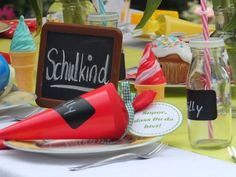 Decoration for the school enrollment party - Einschulung Janis - Enschulung Baby Kids, Diy And Crafts, Bottle, Drinks, Rose, Bunt, Learning Letters, Beginning Of School, Infant Crafts