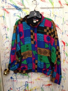 Vintage 80's windbreaker zip up jacket for both men and women size XL wide short pink blue green brown geometric motif by RagsAGoGo, $28.00