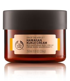 Shop from The Body Shop the Hawaiian Kukui Body Cream Moisturizer to cherish body and mind with this spa inspired rich nurturing body cream made with blissful kukui oil from Hawaii. The Body Shop, Body Shop At Home, Body Peeling, Kukui Oil, Body Cleanser, Body Treatments, Body Lotions, Body Butter, Hawaii