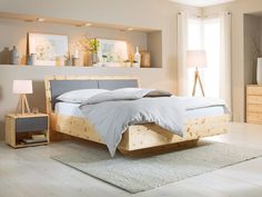 A bed in noble - modern and rustic in one! - Home Inspiration - House Plants Decor, Plant Decor, Bed Frame, Wood Art, Modern, Sweet Home, Cabin, Rustic, Cool Stuff