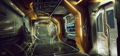 spaceship corridor concept, Mateusz Szulik on ArtStation at https://www.artstation.com/artwork/spaceship-corridor-concept