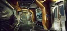 spaceship corridor concept, Mateusz Szulik on ArtStation at http://www.artstation.com/artwork/spaceship-corridor-concept