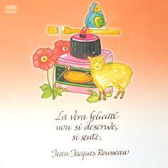 """""""La vera felicità non si descrive, si sente."""" Jean Jacques Rousseau - Aprile nel calendario da muro Setteparole 2017"""