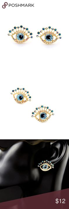 Crystal Blue and Gold Evil Eye Stud Earrings NEW Bright blue evil eye crystal studs. Earrings are on a gold setting with a post back. New and never worn. Boutique Jewelry Earrings