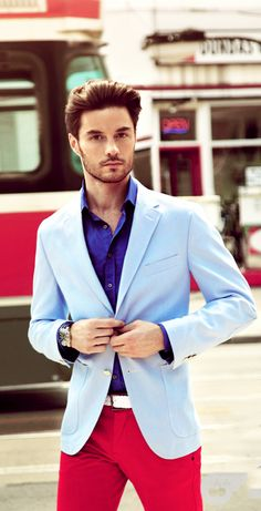 love this colour combo: crisp cobalt blue dress shirt, light blue men's blazer, white belt and cherry red pants.