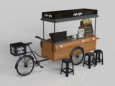 Coffee Cart Bike 3d model dwonload Food Stall Design, Food Cart Design, Food Truck Design, Coffee Carts, Coffee Truck, Bike Coffee, Mobile Coffee Shop, Bike Food, Street Coffee