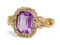 Antique Amethyst and Diamond Ring    A pairing of amethyst and rose cut diamonds makes for a classic antique ring. An octagonal shaped bezel of 18k yellow gold embraces a faceted amethyst of an estimated 1.25 carats and set against a surround of twenty-two (22) rose cut diamonds with a total estimated diamond weight of .11 carats.    Date: Circa 1860.