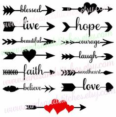 Arrow Words Svg - Arrows Svg - Arrows with Words Svg - Digital Cutting File - Graphic Design - Instant Download - Svg, Dxf, Jpg, Eps, Png by cardsandstitches on Etsy