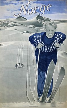 Norway - Home of Skiing, original 1948 travel poster listed on guide collections Winter Family Vacations, Vintage Ski Posters, Retro Posters, Best Ski Resorts, Winter Resorts, Pub, Beach Trip, Hawaii Beach, Oahu Hawaii