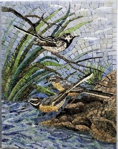 Marble Mosaic Handmade, Wall Art, Roman Mosaic, Home Decor, Tiles, Birds, Mosaic Birds