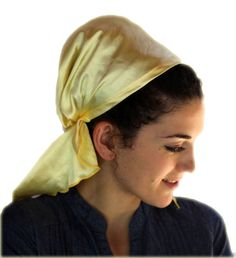 Tichel Scarves Head Wrap Hair Covering Jewish Headcovering Bandana Yellow Color