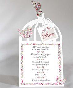 Menu baptême forme cage et 2 oiseaux en liberty Eloïse rose avec ruban : Cuisine et service de table par chez-eloise