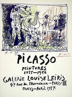 1957 Lithograph Signed Picasso Peintures Poster Galerie Louise Leiris Art RARE #Picasso #vintage #Handsigned #Rare