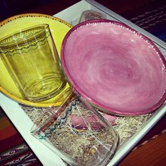 A colored set of dishes for a wedding gift