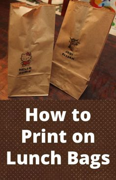 Customize your kids' lunch bags by running brown paper bags through the printer! Check out these templates and learn how to print on lunch bags.