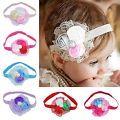 Baby Saeugling Maedchen Spitze Stirnband Haar Schleife mit Perlen und Rosen C1M1