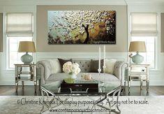 AANGEPASTE kunst Abstract schilderij wit kersenboom Blossoms bloemen…