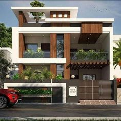 1600 square feet double floor modern home design with 3 bedrooms Best Modern House Design, Modern Exterior House Designs, Bungalow House Design, Minimalist House Design, House Front Design, Dream House Exterior, Small House Design, Exterior Design, Modern Home Exteriors