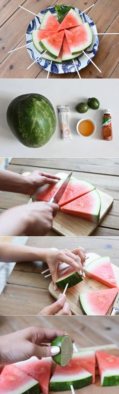 DIY Watermelon Lollipops: For me, watermelon is a summer tradition. I grew up eating it at every backyard BBQ and pool party. It's so refreshing and healthy! For this DIY, I wanted to give my favorite summer treat a fun, modern touch, perfect for serving up to your friends at your next gathering.