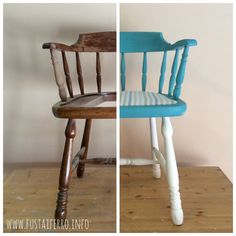 Paso a paso restauración de silla pintada con Chalk paint en aerosol y terminada con cera.