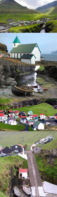 Denmark    ,Village of Gjógv on Faroe Islands.