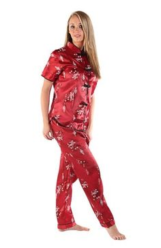 f694d4cd5a Del Rossa Women s Short Sleeved Satin Chinese Inspired Pajama Set