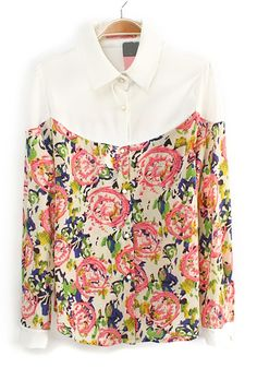 Pink Patchwork Floral Buttons Long Sleeve Chiffon Blouse - could also be a refashion reject.