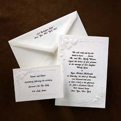 Embossed Heart and Rose Invitation Hi-white invitation folder with embossed heart, rose and ribbon design. Discount Wedding Invitations, Heart Wedding Invitations, Springfield Missouri, Ribbon Design, Wedding Coordinator, Wedding Planning, Personalized Items, Simple, Cards