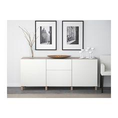 BESTÅ Combinaison rangement tiroirs - motif noyer teinté gris/Lappviken blanc, glissière tiroir, ouv par pression - IKEA