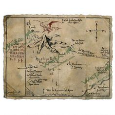The Hobbit: An Unexpected Journey Thorins Map Parchment Art Print by Weta