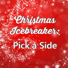 "Brand new Christmas Icebreaker - Pick a Side. It's perfect for your Women's Ministry Christmas fellowship, Youth Christmas gathering, or really any Christmas party! ""Pick a Side"" is a fun, quick game that involves the entire group."