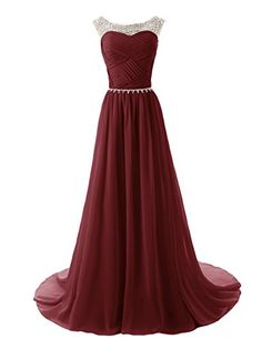 Charming A-line Burgundy Prom Dress Long Chiffon Wine Red Prom Dress with Beaded…