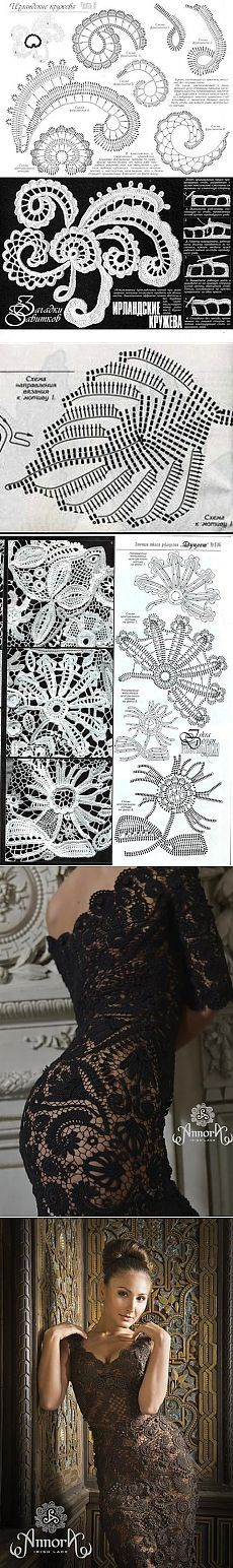 Designer evening pllatya IR technique.  Irish Lace dress knitting |  Housekeeping for the whole family Crochet Stitches Patterns, Lace Patterns, Freeform Crochet, Thread Crochet, Irish Crochet Charts, Crochet Flowers, Crochet Lace, Romanian Lace, Irish Lace