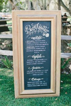 Gold framed sign: http://www.stylemepretty.com/little-black-book-blog/2015/03/24/rustic-italian-olive-branch-winery-wedding/ | Photography: Onelove - http://www.onelove-photo.com/