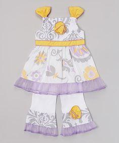 Look what I found on #zulily! AnnLoren Yellow & Lavender Floral Top & Pants - Infant, Toddler & Girls by AnnLoren #zulilyfinds