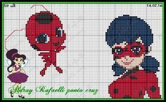 Miraculous: Tales of Ladybug & Cat Noir pattern by Aldray Rafaelli Perler Patterns, Loom Patterns, Beading Patterns, Cross Stitch Patterns, Lady Bug, Picture Ornaments, Pixel Art Templates, Snow White Disney, Stitch Cartoon