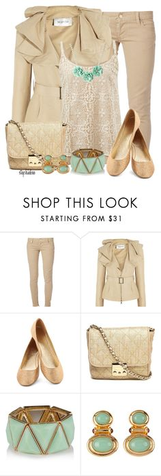 """Mint & Nude"" by stephiebees ❤ liked on Polyvore featuring Dsquared2, Valentino, CAbi, Witchery and Susan Caplan Vintage"