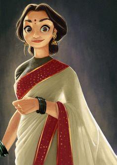 ArtStation - Elegant one, Arjun Somasekharan Cute Cartoon Pictures, Cute Cartoon Girl, Cartoon Girl Drawing, Cartoon Art, Cartoon Sketches, Cartoon Styles, Drawing Cartoon Characters, Indian Illustration, Woman Illustration