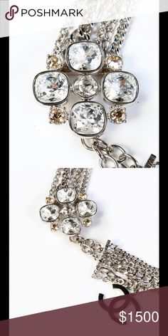 Authentic Chanel crystal flower belt CHANEL Crystal Flower CC silver Logo. Can be used as the necklace as well. Get your hands on this collector's item. A beautiful masterpiece. Comes with Chane box CHANEL Other