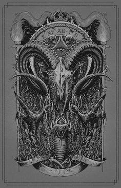 #blackandwhite #satan #satanic #illustration #cursed #666 #baphomet #occult…