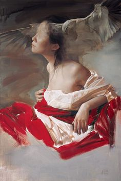 Liu Yuanshou Born in Beijing in 1967. Oil on canvas. Great composition and amazing use of the bloody red. Represented by Galerie du Monde, Hong Kong.