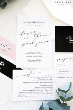 Juliana Black and Blush Modern Calligraphy Wedding Invitation Sets