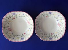 2 Johnson Brothers Summer Chintz Square Bowls 6 In. Cereal Salad Pink England #JohnsonBrothers