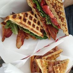 BLT on a waffle instead of toast, at Double Wide bar in Deep Ellum. These guys are crazy! Lol