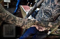 """""""Worlds Collide,"""" the amazing Thomas Hooper Creative Tattoos, Cool Tattoos, Thomas Hooper, Stick N Poke, Dog Walking, Blackwork, I Tattoo, Design Inspiration, My Style"""